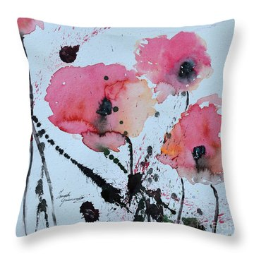 Poppies- Painting Throw Pillow by Ismeta Gruenwald