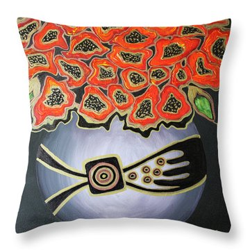 Poppies Revisited.. Throw Pillow