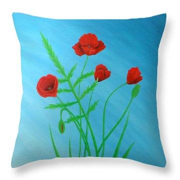 Poppies Throw Pillow by Sven Fischer