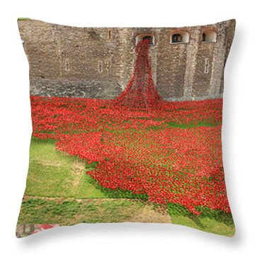 Poppies Tower Of London Collage Throw Pillow
