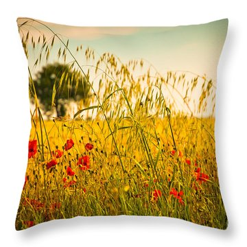 Poppies With Tree In The Distance Throw Pillow