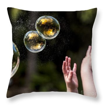 Poppin Bubbles Throw Pillow by Darcy Michaelchuk