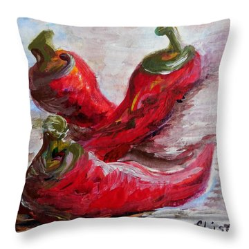 Poppin' Peppers Throw Pillow