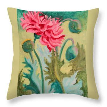 Poppy Abstract Throw Pillow