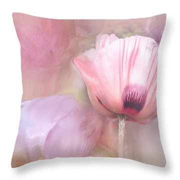 Poppy And Peony Throw Pillow