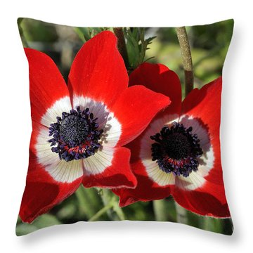 Throw Pillow featuring the photograph Poppy Anemones by George Atsametakis