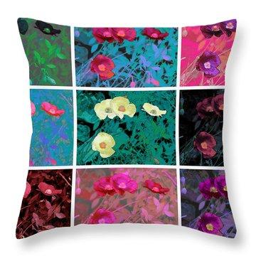 Poppy Collage A La Warhol Throw Pillow