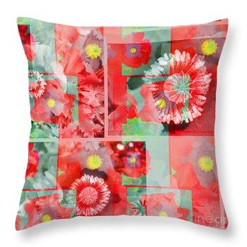 Poppy Collage Throw Pillow
