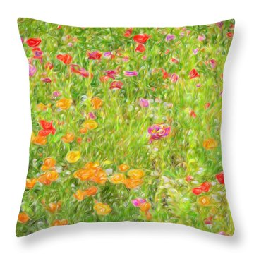 Throw Pillow featuring the photograph Poppy Confusion Painterly Textured by Clare VanderVeen