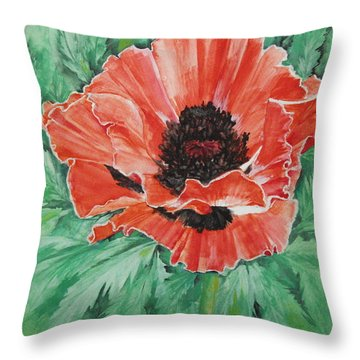 Poppy Throw Pillow by Ellen Canfield