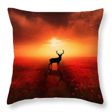 Poppy Field Dreams Throw Pillow
