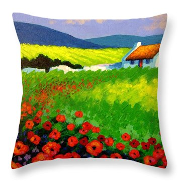Poppy Field - Ireland Throw Pillow by John  Nolan