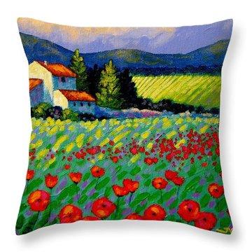 Poppy Field - Provence Throw Pillow by John  Nolan