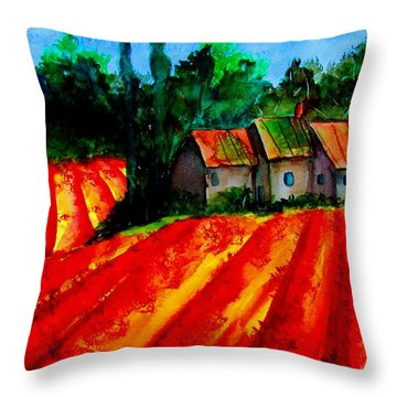 Poppy Field  Sold Throw Pillow by Lil Taylor