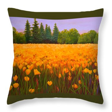 Poppy Fields Forever Throw Pillow
