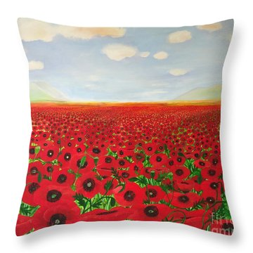 Poppy Fields Throw Pillow