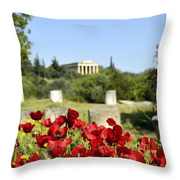 Poppy Flowers In Ancient Market Throw Pillow by George Atsametakis