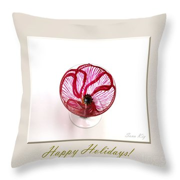 Poppy. Happy Holidays Throw Pillow by Oksana Semenchenko