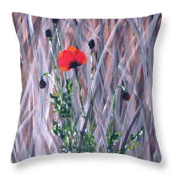 Poppy In The Wild Throw Pillow