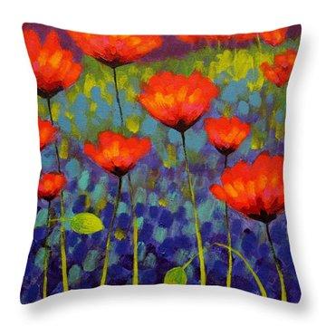 Poppy Meadow   Cropped 2 Throw Pillow by John  Nolan