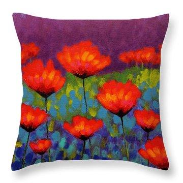 Poppy Meadow   Cropped Throw Pillow by John  Nolan