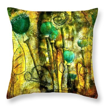 Poppy Pods Throw Pillow by Bellesouth Studio