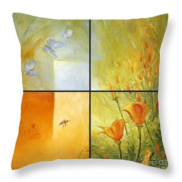 Poppy Pollination Throw Pillow