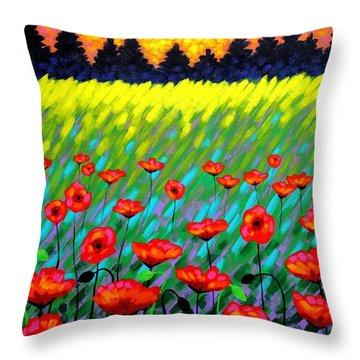 Poppy Scape Throw Pillow by John  Nolan