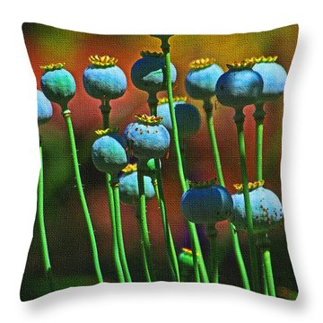 Poppy Seed Pods Throw Pillow