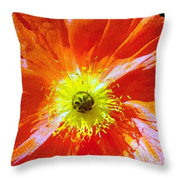 Poppy Series - Facing The Sun Throw Pillow by Moon Stumpp