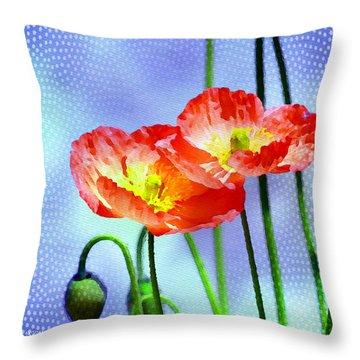 Poppy Series - Garden Views Throw Pillow by Moon Stumpp