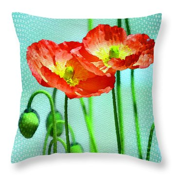 Poppy Series - Quite Throw Pillow by Moon Stumpp