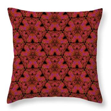 Throw Pillow featuring the digital art Poppy Sierpinski Triangle Fractal by Judi Suni Hall