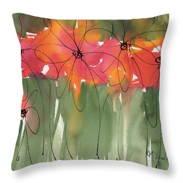 Poppy To Posy Throw Pillow by Kathleen McElwaine