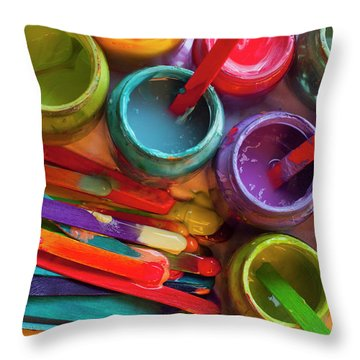 Popsicle Stick Paint Throw Pillow