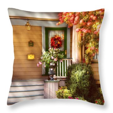 Porch - Cranford Nj - Simply Pink Throw Pillow by Mike Savad