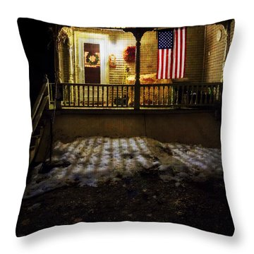 Throw Pillow featuring the photograph Porch Flag by Tom Singleton