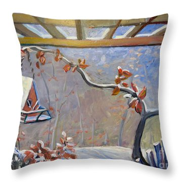Throw Pillow featuring the painting Porch In Winter by Gretchen Allen