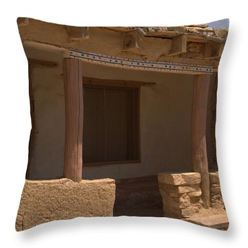 Porch Of Pueblo Home Throw Pillow