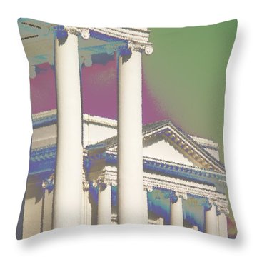 Throw Pillow featuring the photograph Porch Of State Capitol Richmond Va by Suzanne Powers