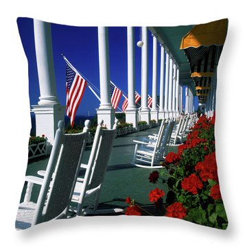 Porch Of The Grand Hotel, Mackinac Throw Pillow