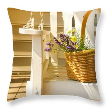 Porch Swing With Flowers Throw Pillow