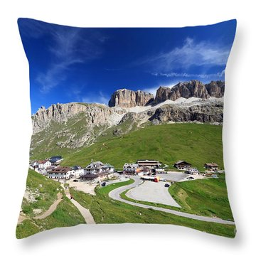 Pordoi Pass And Mountain Throw Pillow