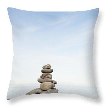 Porlock Weir Stone Stack Throw Pillow by Anne Gilbert