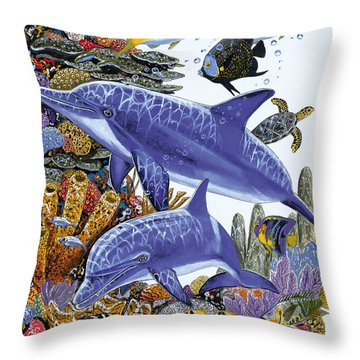 Porpoise Reef Throw Pillow by Carey Chen