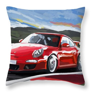 Porsche 911 Gt3 Impressionist Throw Pillow
