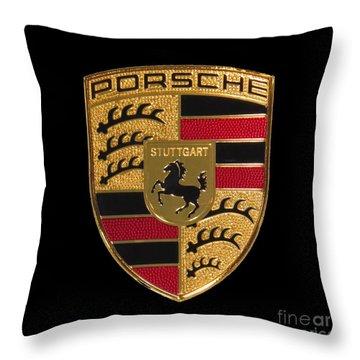 Porsche Emblem - Black Throw Pillow