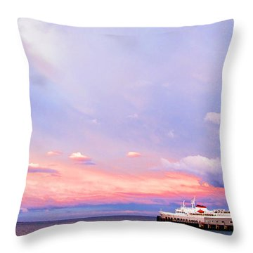 Port Angeles Sunset Throw Pillow by Niels Nielsen