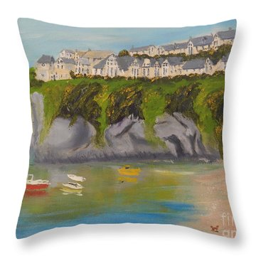 Throw Pillow featuring the painting Port Asaac Cornwell by Pamela  Meredith