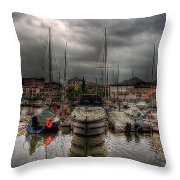 Port At Como Lake Throw Pillow